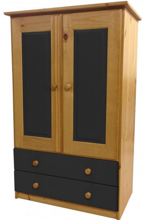 Armoire 2 portes 2 tiroirs pin naturel et gris aladin for Armoire avec tiroir et penderie