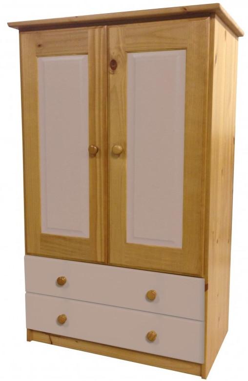 armoire 2 portes 2 tiroirs pin massif naturel et rose. Black Bedroom Furniture Sets. Home Design Ideas