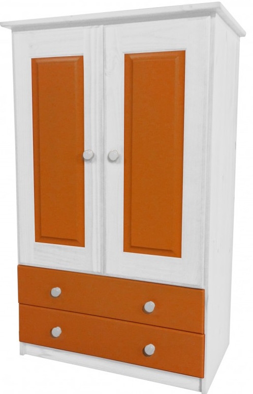 armoire 2 portes 2 tiroirs pin blanc et orange aladin. Black Bedroom Furniture Sets. Home Design Ideas
