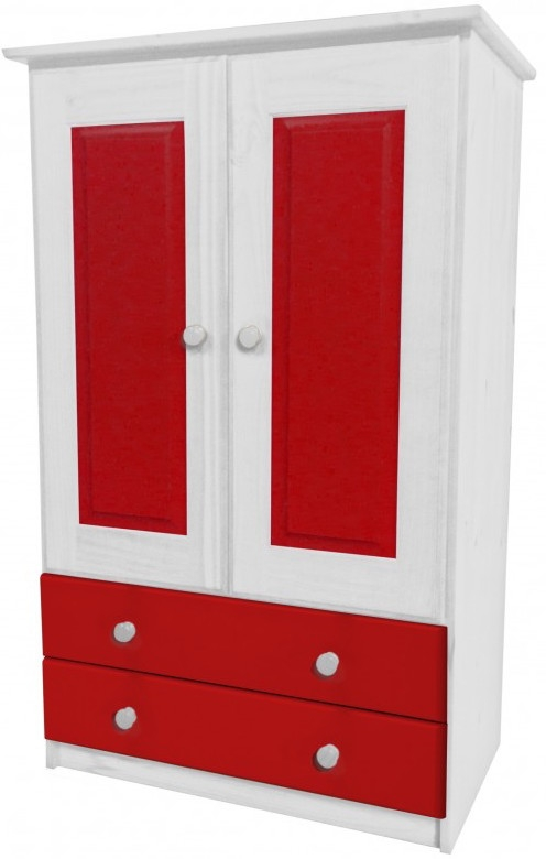 armoire 2 portes 2 tiroirs pin blanc et rouge aladin. Black Bedroom Furniture Sets. Home Design Ideas