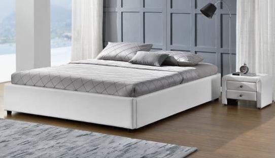 Lit simili blanc avec coffre 140 x 190 cm hotel - Cadre de lit avec coffre ...