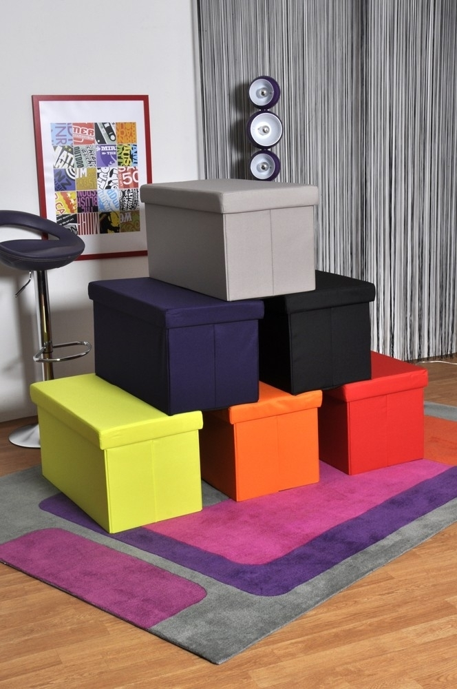 pouf coffre de rangement sunny couleur noir. Black Bedroom Furniture Sets. Home Design Ideas
