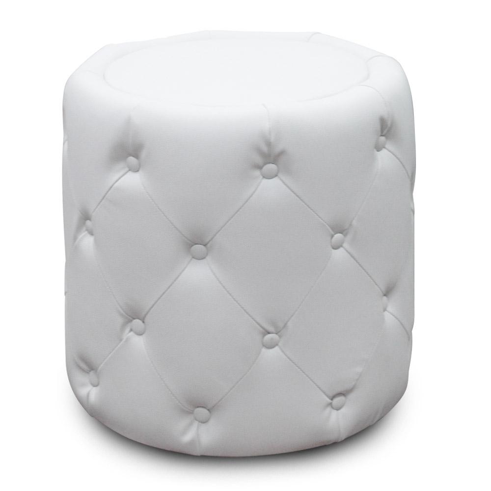 Pouf cylindrique capitonn blanc - Pouf blanc capitonne ...