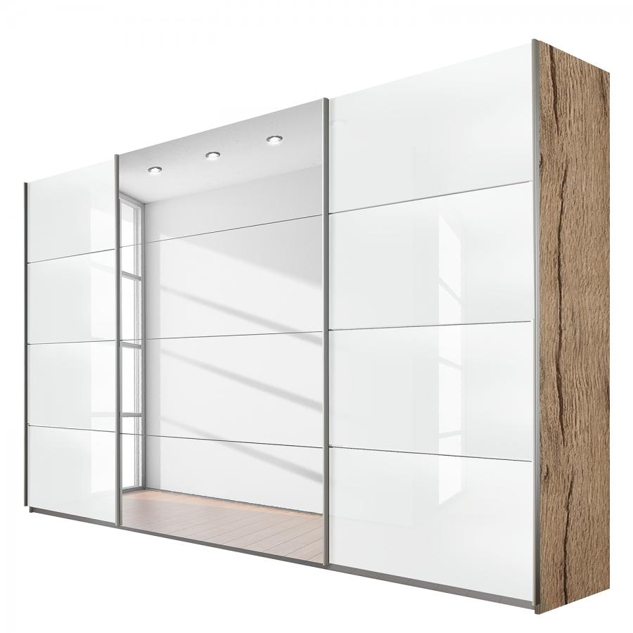 armoire miroir ch ne et blanc laqu quadro mod le l 226 cm h 210 cm. Black Bedroom Furniture Sets. Home Design Ideas
