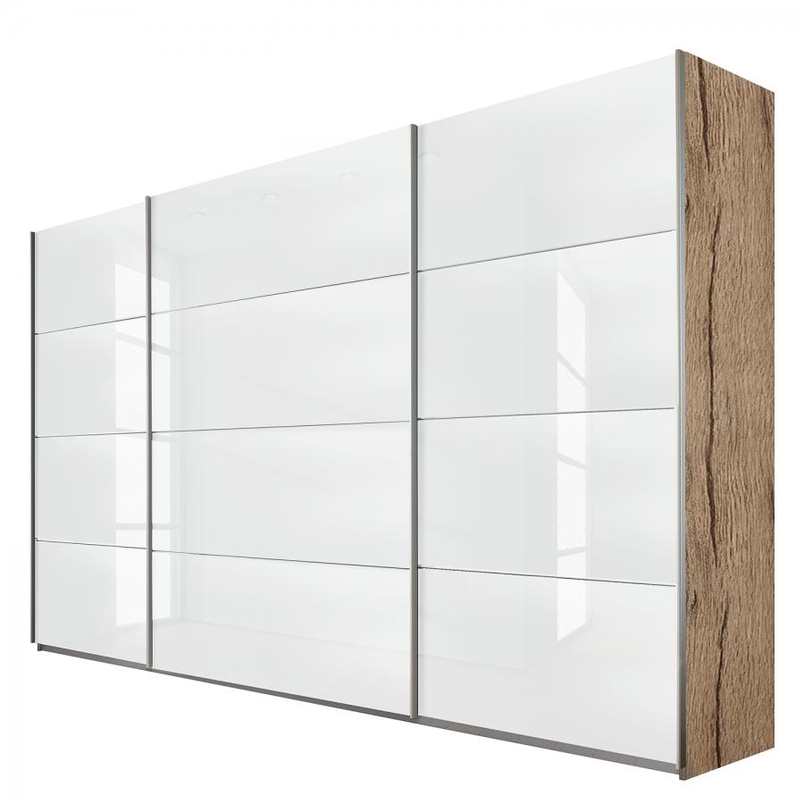armoire design verre blanc et ch ne clair quadro mod le l 181 cm h 210 cm. Black Bedroom Furniture Sets. Home Design Ideas