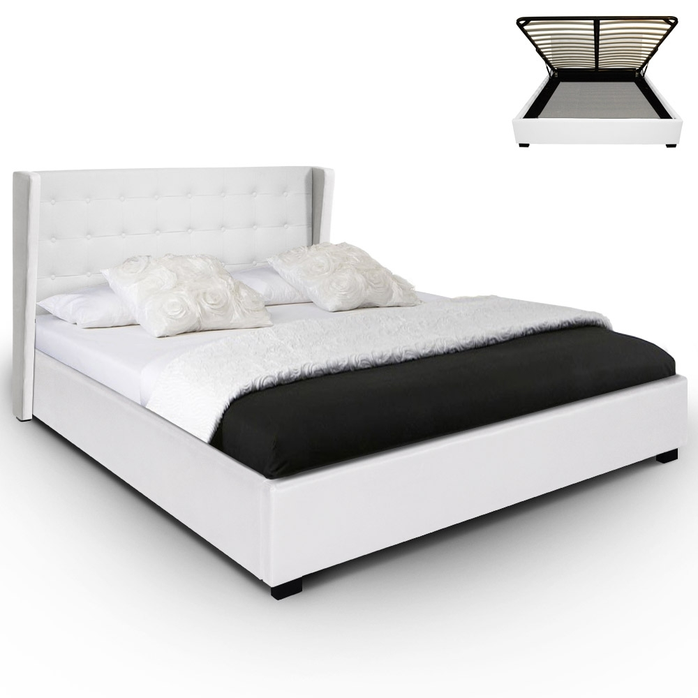 lit avec rangement donia couleur blanc couchage 140 x 190 cm. Black Bedroom Furniture Sets. Home Design Ideas