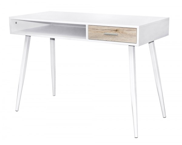 bureau scandinave 1 tiroir blanc et ch ne gris. Black Bedroom Furniture Sets. Home Design Ideas