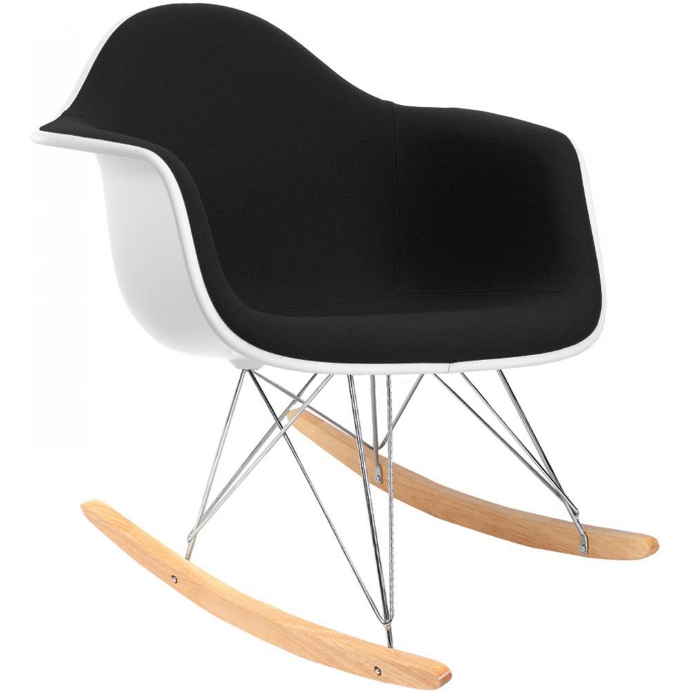 rocking chair blanc assise simili noir. Black Bedroom Furniture Sets. Home Design Ideas