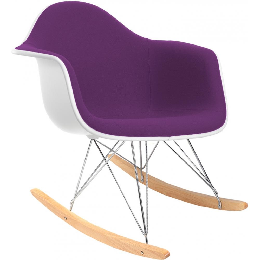 rocking chair blanc assise simili violet. Black Bedroom Furniture Sets. Home Design Ideas