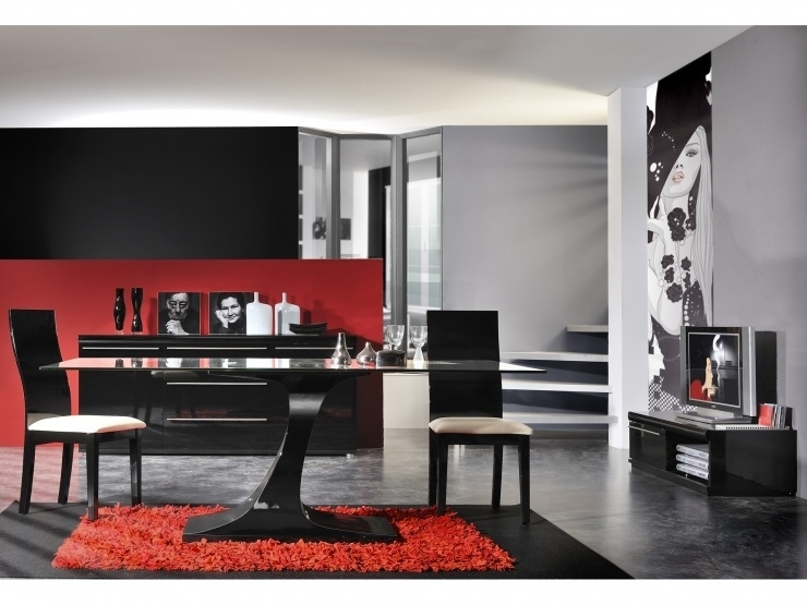 salle manger compl te laqu e noir blacken. Black Bedroom Furniture Sets. Home Design Ideas