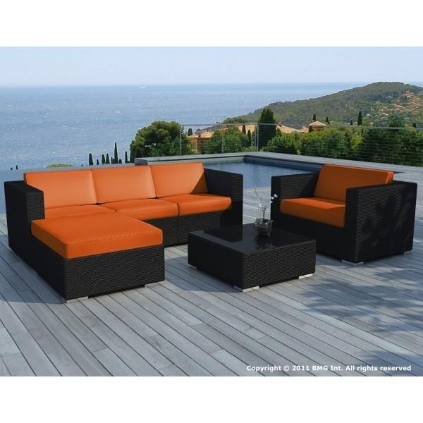 Salon de jardin résine tressée noire coussin Orange Copacabana ...