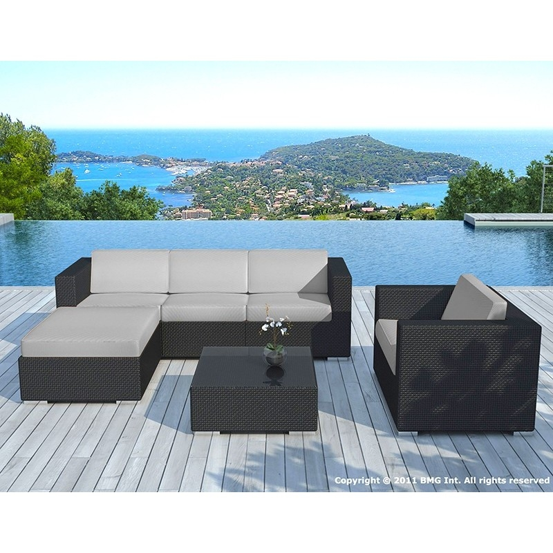 salon de jardin en r sine tress e gris clair mona. Black Bedroom Furniture Sets. Home Design Ideas