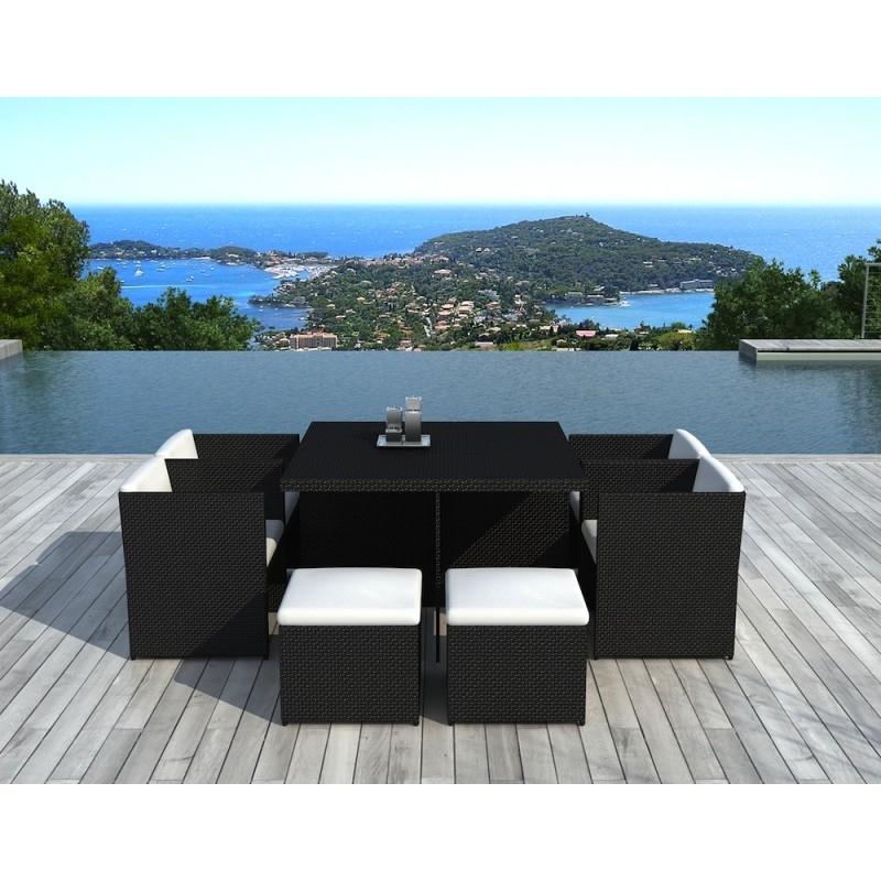 Salon de jardin noire encastrable 4 fauteuils 4 poufs mila - Table fauteuil encastrable ...
