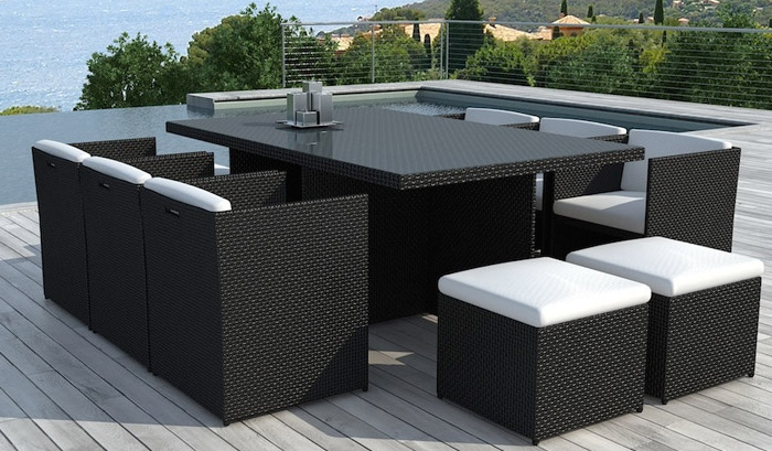 salon de jardin noire encastrable 6 fauteuils 4 poufs mila. Black Bedroom Furniture Sets. Home Design Ideas