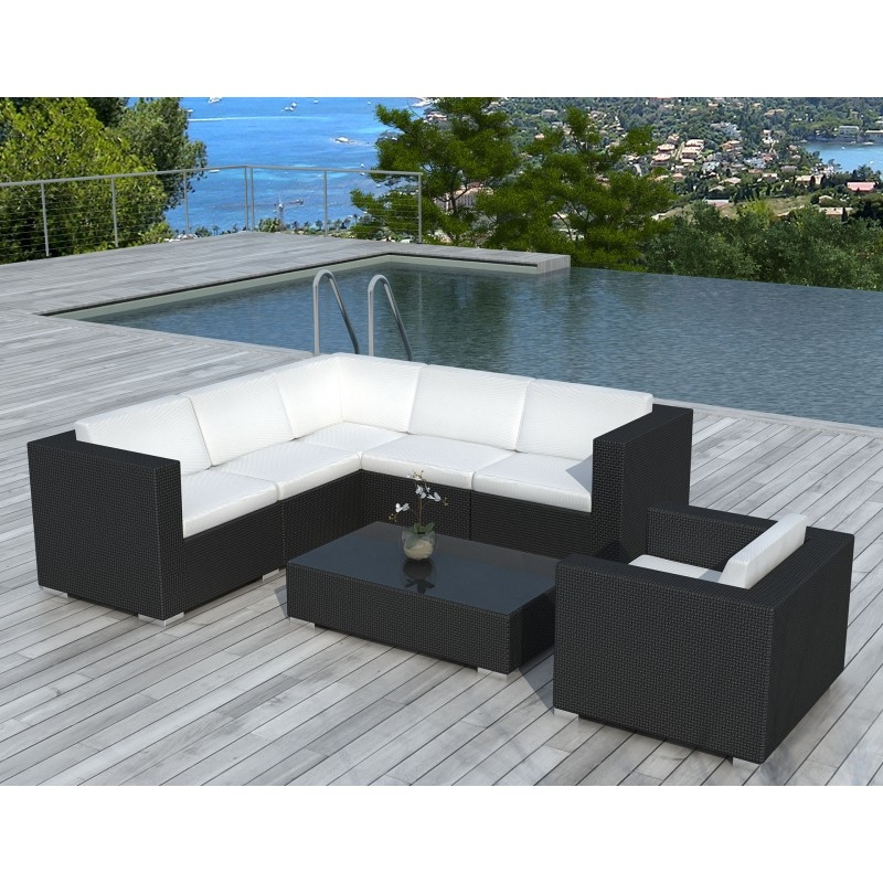 salon de jardin d 39 angle en r sine tress e noir blanca. Black Bedroom Furniture Sets. Home Design Ideas