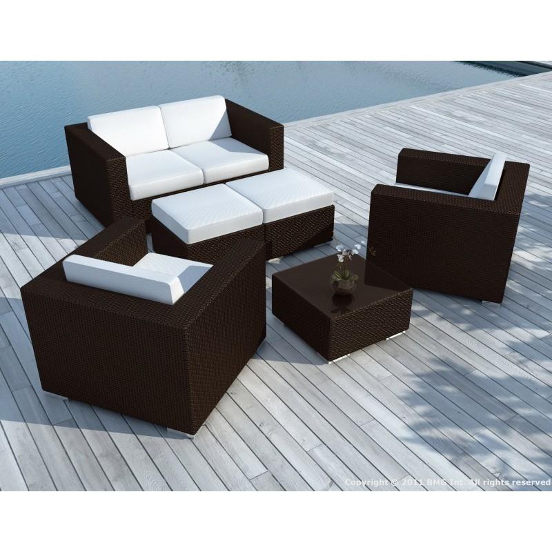 Salon de jardin en r sine tress e marron et blanc calvi - Salon de jardin resine tressee blanc ...