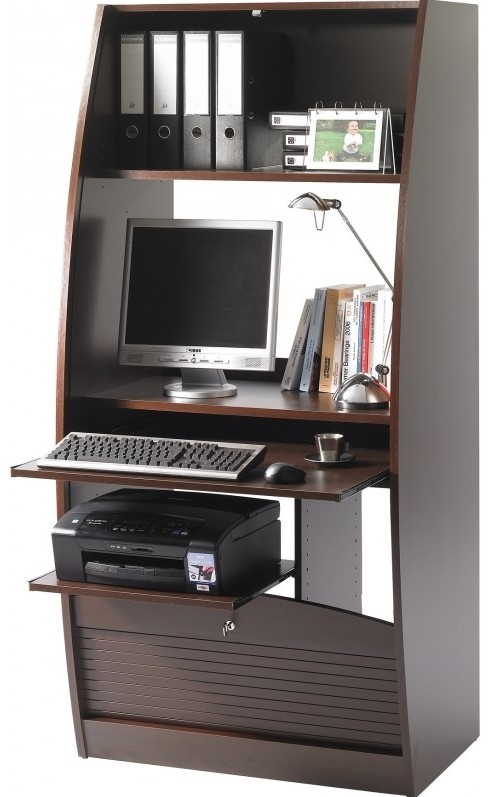 secr taire informatique marron 80 cm. Black Bedroom Furniture Sets. Home Design Ideas
