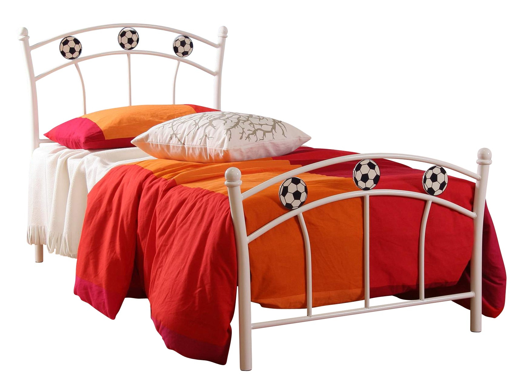 lit football m tal blanc. Black Bedroom Furniture Sets. Home Design Ideas
