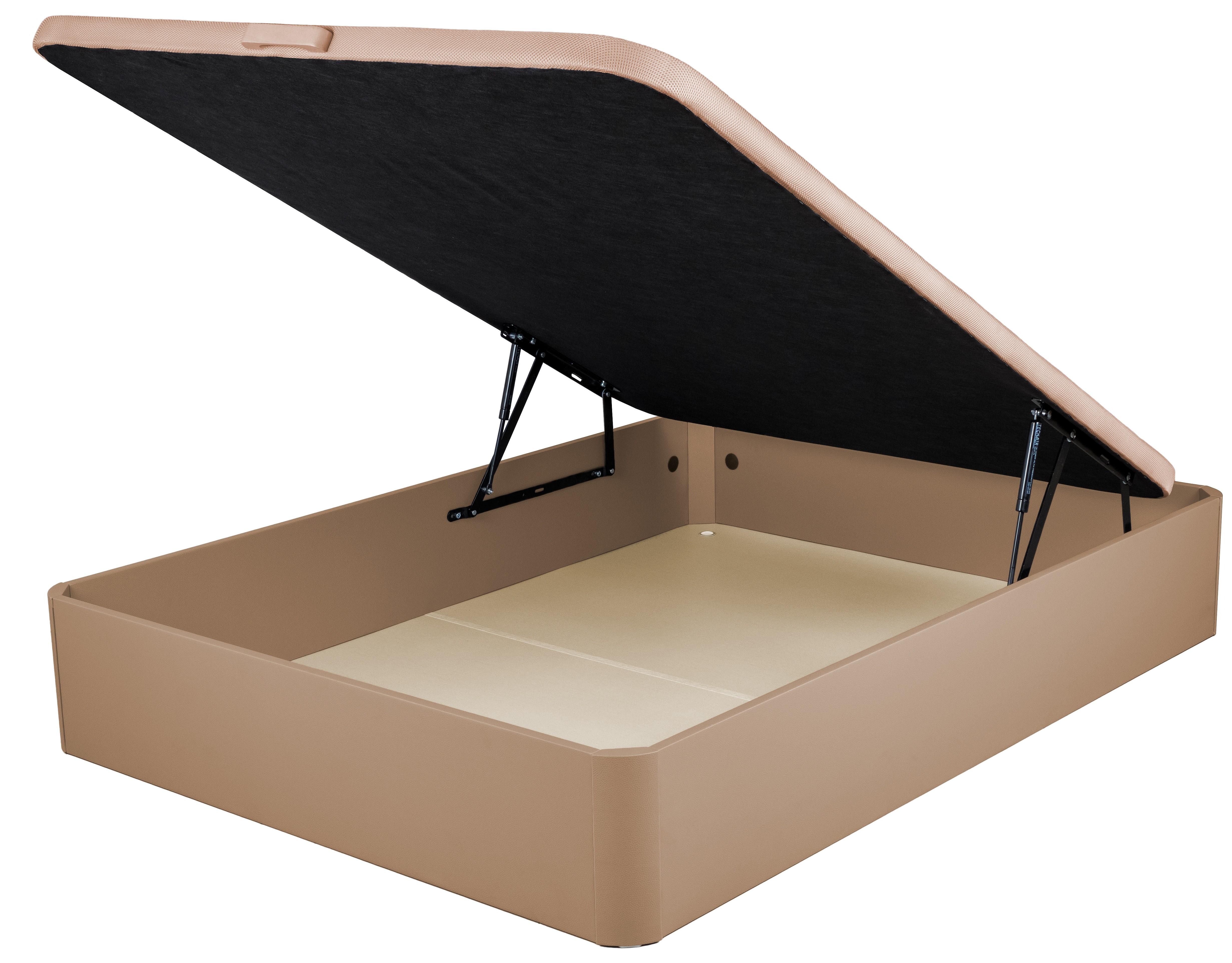 sommier lit coffre simili beige posta 90. Black Bedroom Furniture Sets. Home Design Ideas