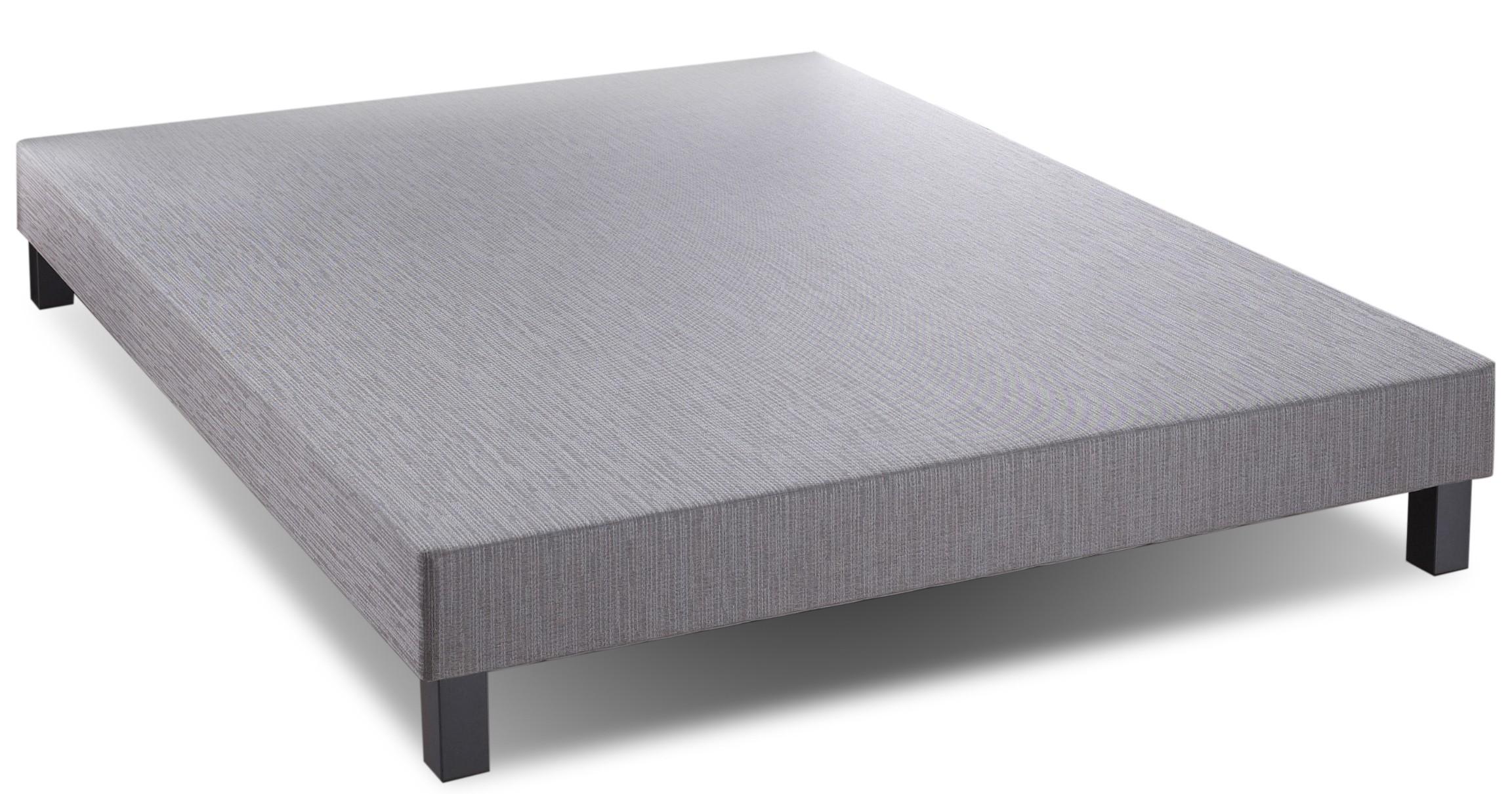 sommier tapissier gris fonc 90x190cm relaxima pieds bois gris. Black Bedroom Furniture Sets. Home Design Ideas