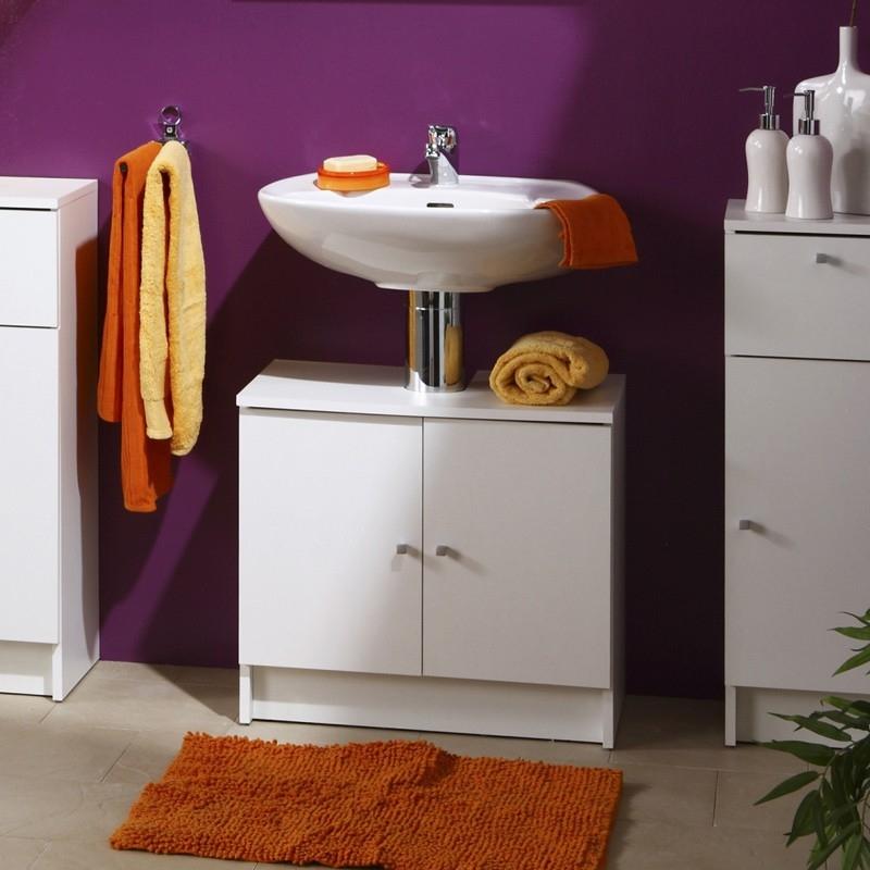 sous lavabo 2 portes blanc flash. Black Bedroom Furniture Sets. Home Design Ideas