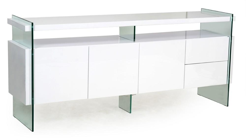 Buffet 3 portes blanc laqu et verre tremp transparent for Meuble 2 tiroirs 90 cm woodstock laque blanc