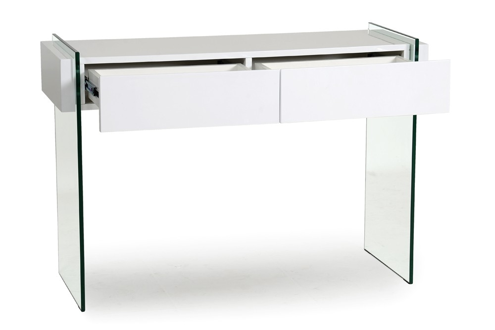 D co bureau console en verre trempe 34 tours meuble for Console bureau blanc