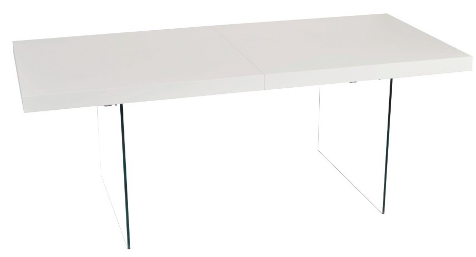 Table repas extensible laqu e blanc et verre tremp arto for Table verre blanc extensible