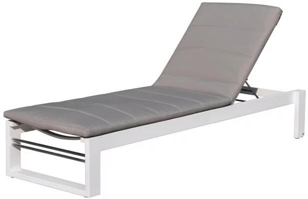 bain de soleil aluminium et tissu blanc et taupe sun. Black Bedroom Furniture Sets. Home Design Ideas