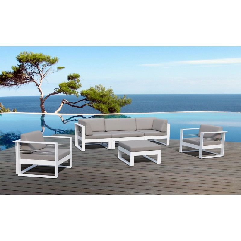 salon de jardin m tal blanc et tissu taupe st tropez. Black Bedroom Furniture Sets. Home Design Ideas