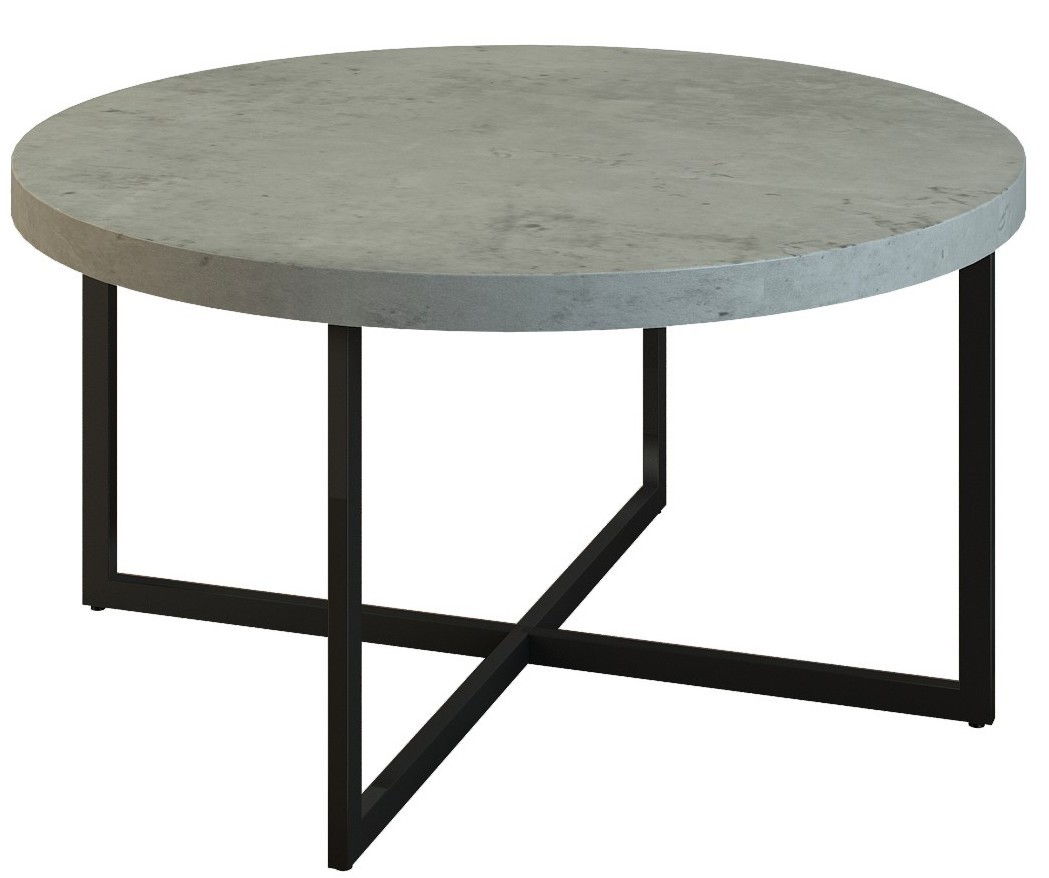 table basse ronde imitation b ton et pied m tal noir kondi. Black Bedroom Furniture Sets. Home Design Ideas