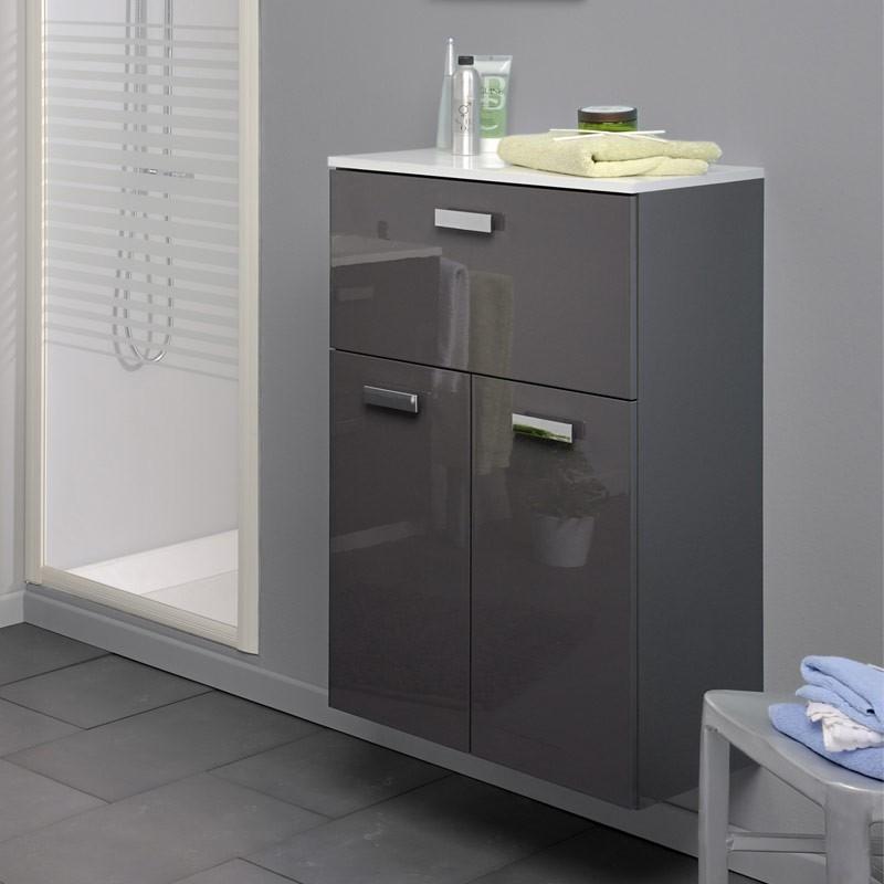 Demi colonne laqu gris luxy for Meuble salle de bain gris laque
