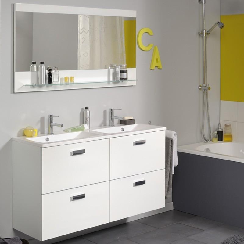 Ensemble 2 vasques et 4 tiroirs laqu blanc luxy - Meuble salle de bain 120 cm 2 vasques ...