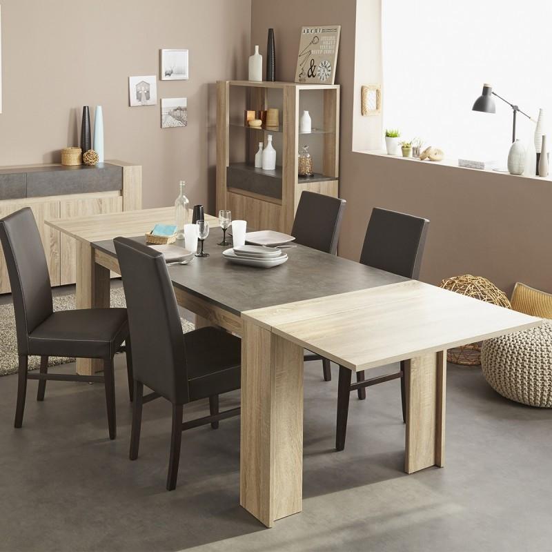 Table de s jour avec allonge ch ne brut et b ton fido for Table de sejour rectangulaire avec allonge