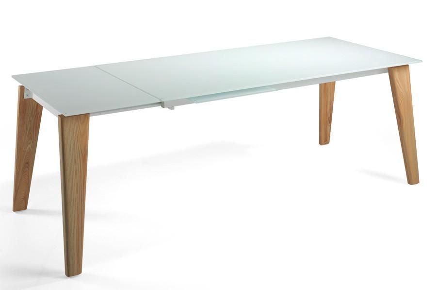 table extensible bois massif clair et plateau verre tremp blanc myral 180 280 cm. Black Bedroom Furniture Sets. Home Design Ideas
