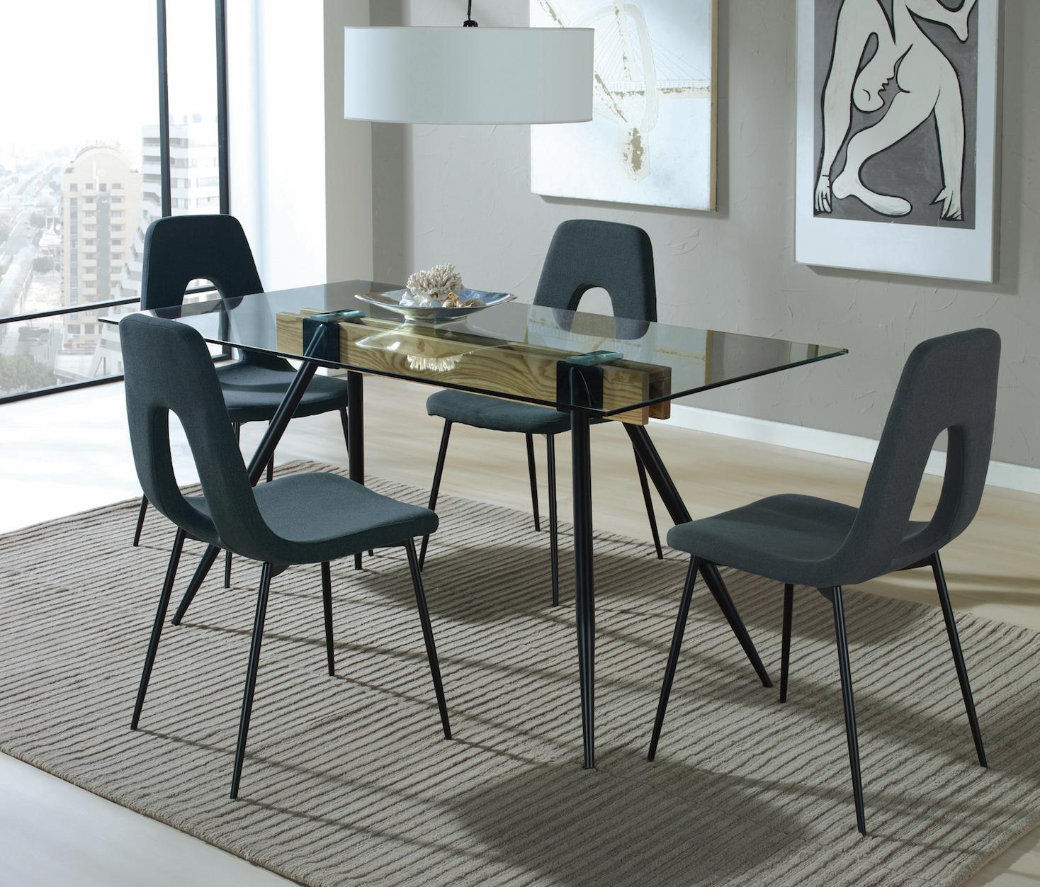 table manger verre transparent et m tal noir mark. Black Bedroom Furniture Sets. Home Design Ideas