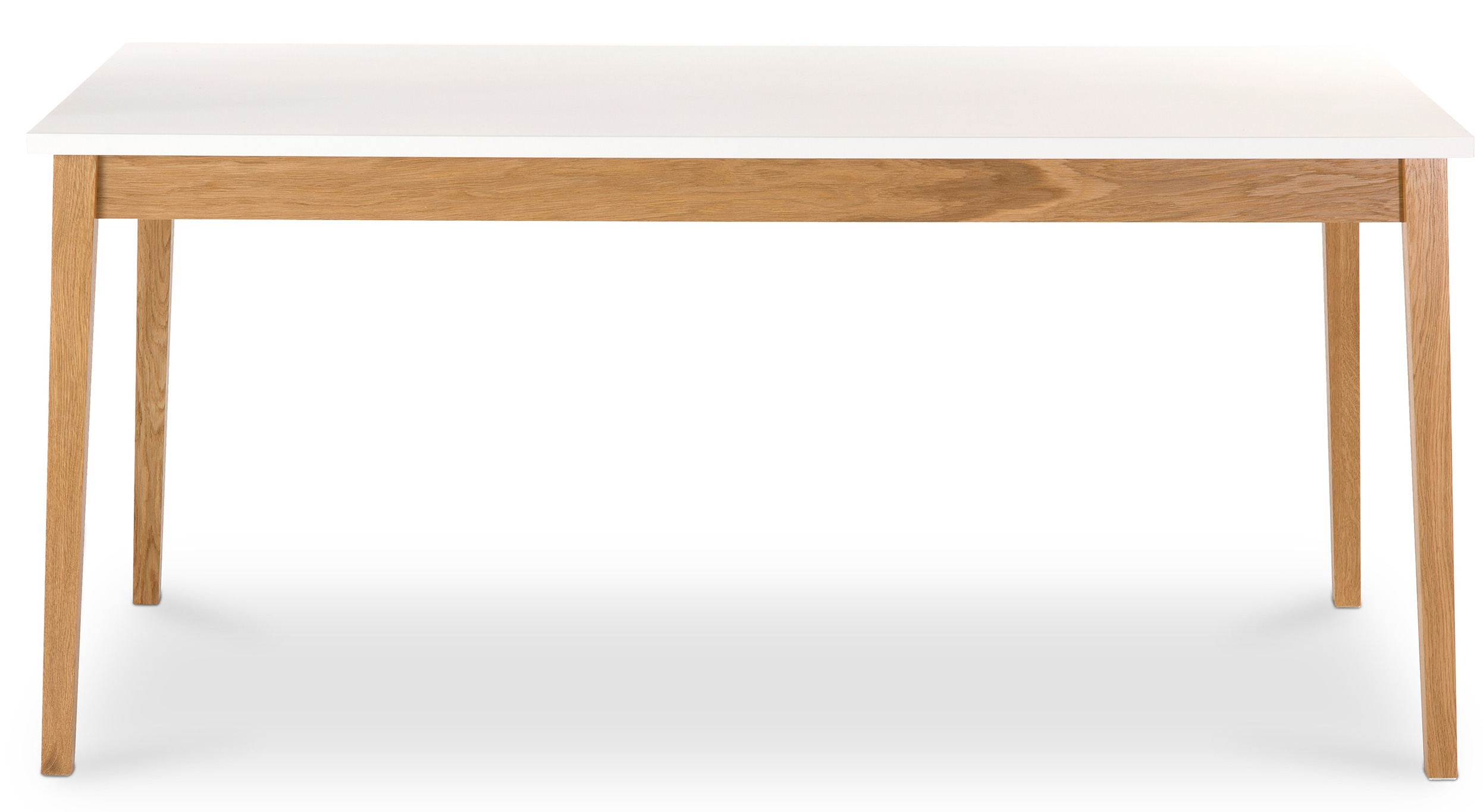 Table manger contemporaine blanche et naturel benji for Table a manger blanche et bois