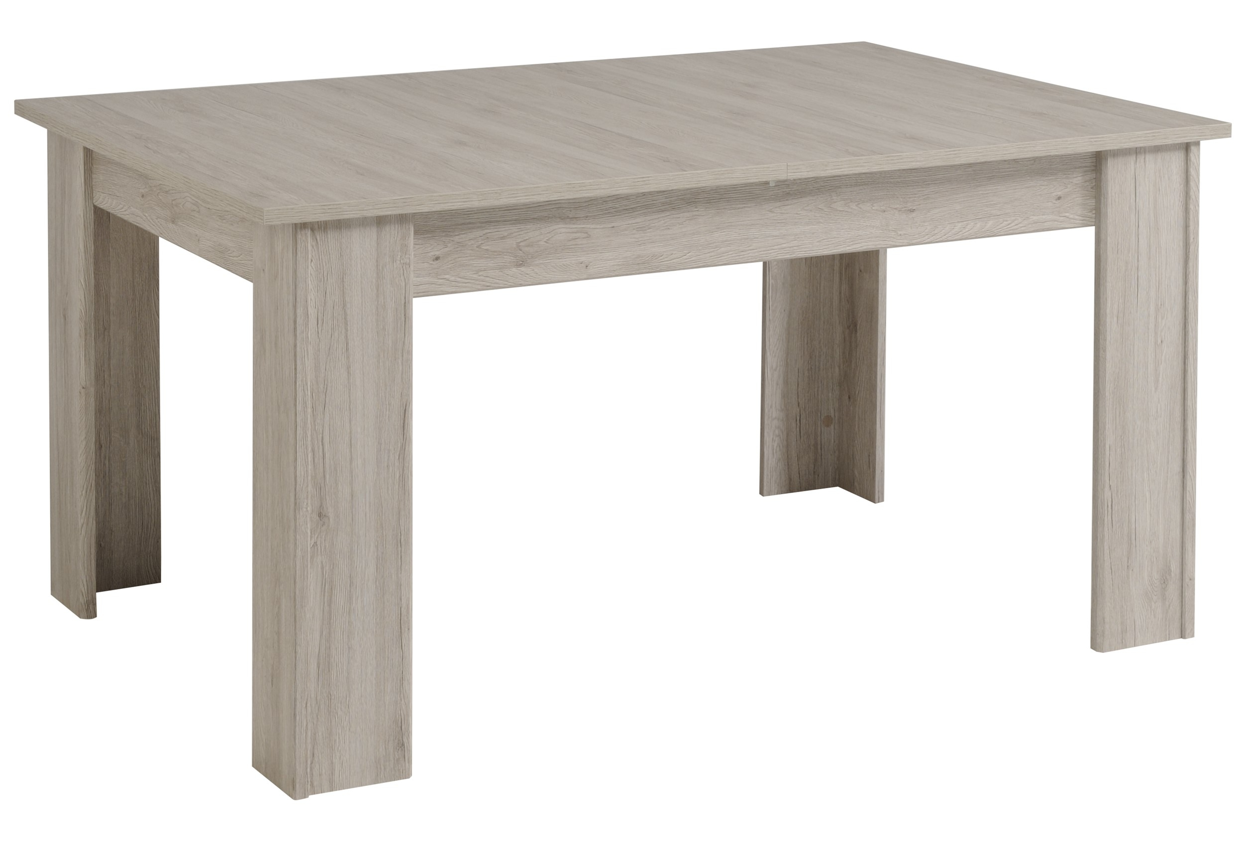 Table manger extensible ch ne gris muleo 155 190 cm for Table extensible gris et bois