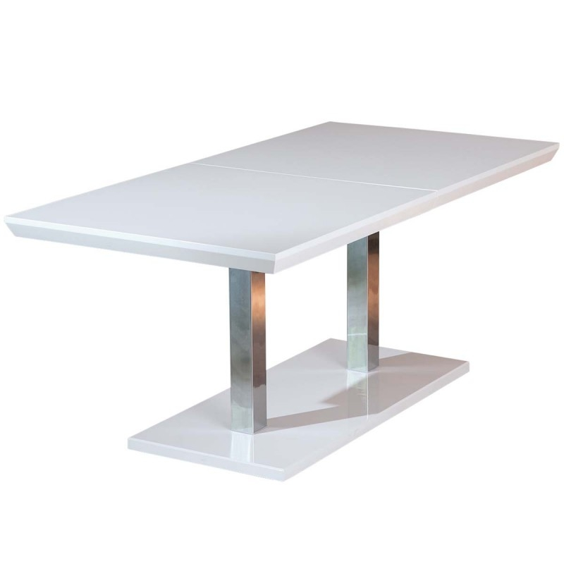 Table manger extensible laqu e blanc edmond 160 200 cm for Table ronde laquee blanc extensible