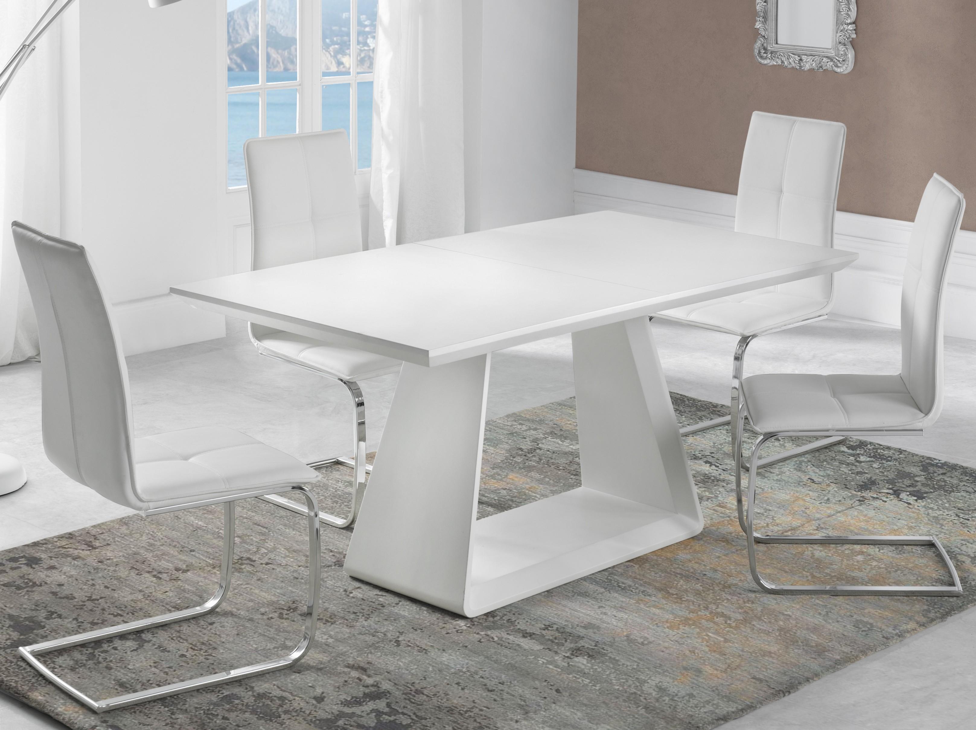 table manger extensible pied central blanc laqu mat holena. Black Bedroom Furniture Sets. Home Design Ideas