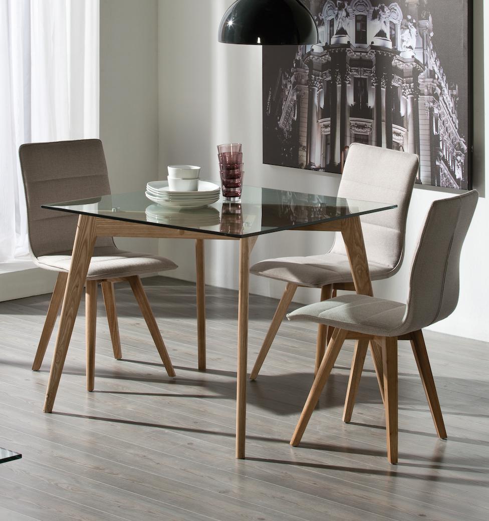 table manger carr e fr ne et verre kadis. Black Bedroom Furniture Sets. Home Design Ideas