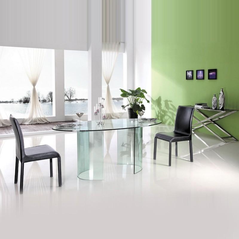 table manger ovale verre transparent tara. Black Bedroom Furniture Sets. Home Design Ideas