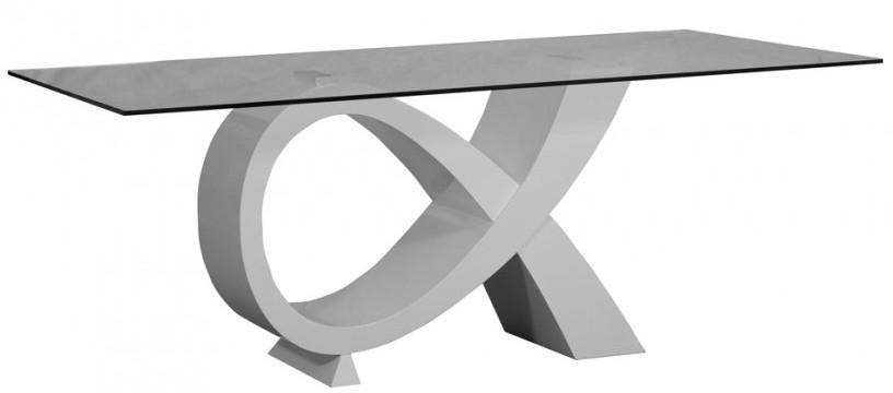 Table manger rectangulaire verre et bois laqu blanc - Table a manger laque blanc et bois ...