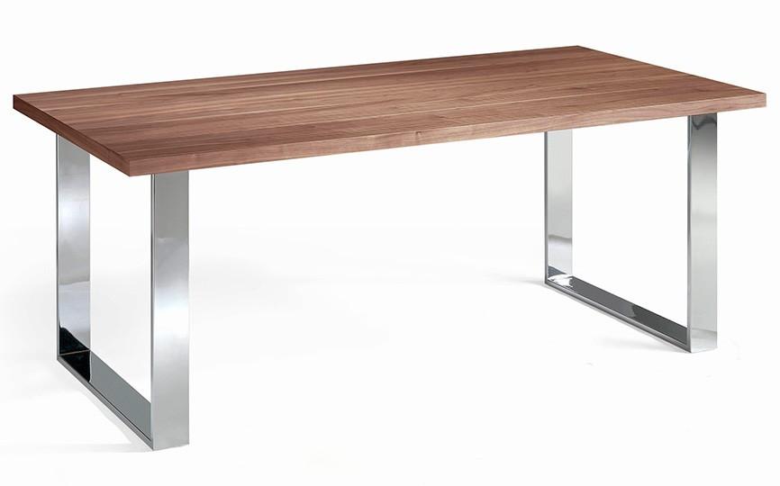 table moderne bois plaqu noyer et acier chrom hena 180. Black Bedroom Furniture Sets. Home Design Ideas