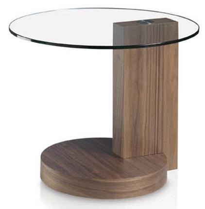 table d 39 appoint ronde bois plaqu noyer et plateau verre tremp kalan. Black Bedroom Furniture Sets. Home Design Ideas