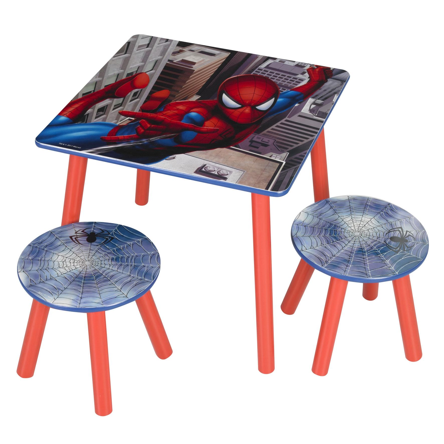 table avec 2 tabourets spiderman. Black Bedroom Furniture Sets. Home Design Ideas