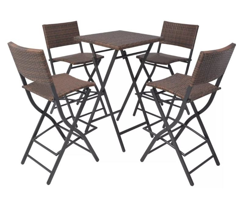Table bar carr e et 4 chaises de jardin r sine tress e Table bar carree