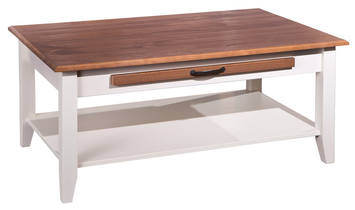 table basse 1 tiroir 1 tablette pin massif blanc et bois s pia caly. Black Bedroom Furniture Sets. Home Design Ideas