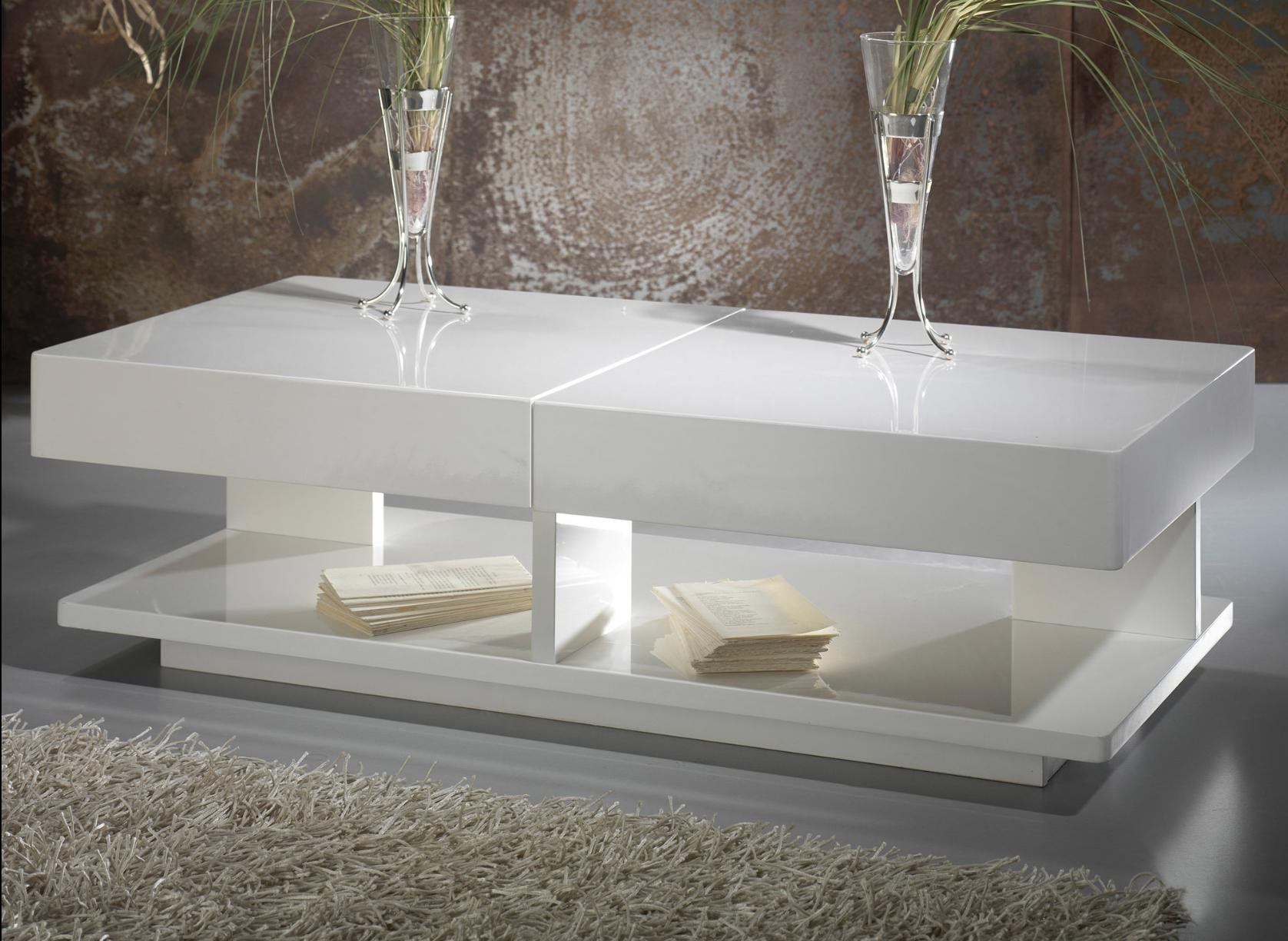 table basse avec plateau coulissant laqu blanc galaxa. Black Bedroom Furniture Sets. Home Design Ideas