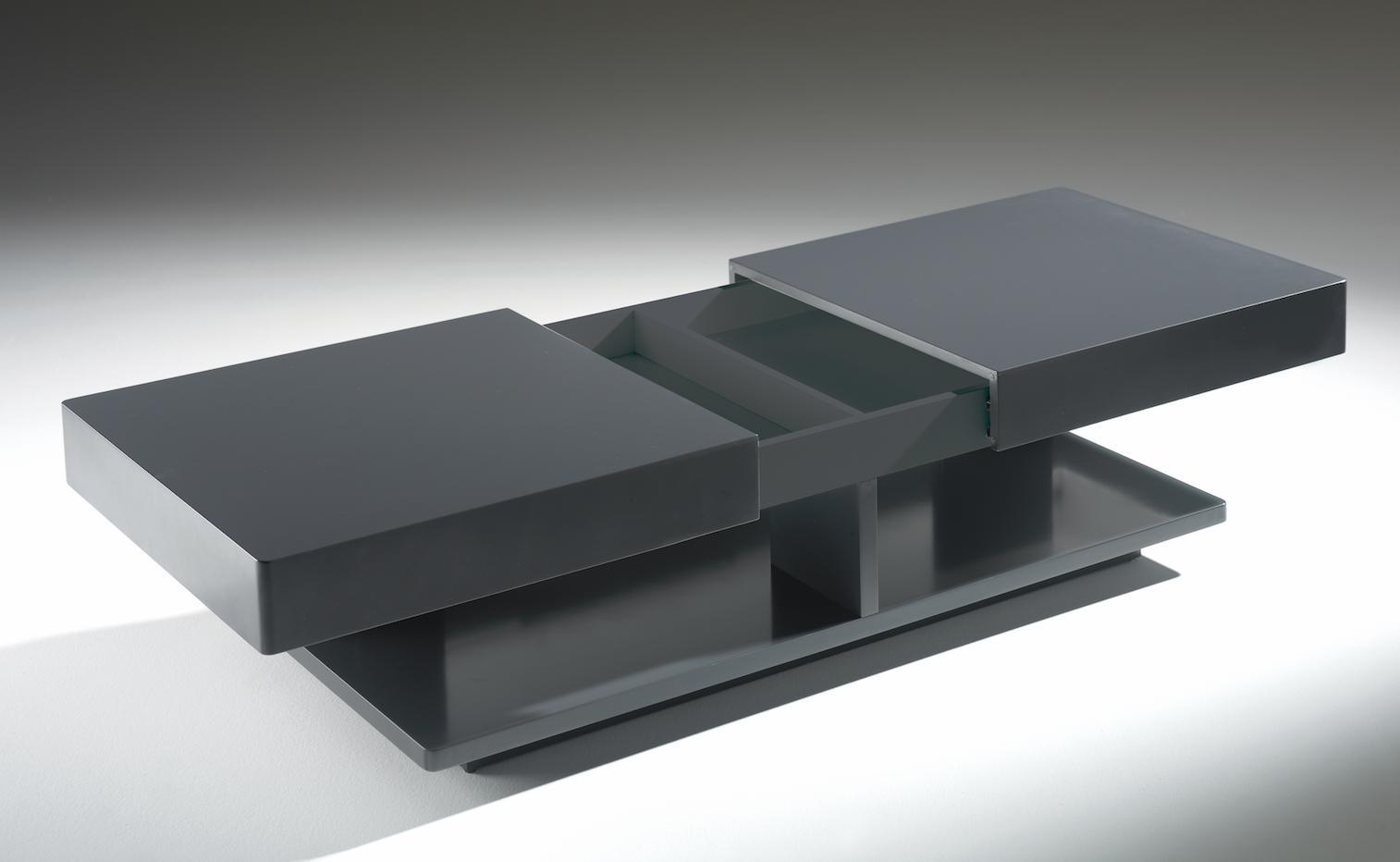 table basse avec plateau coulissant laqu gris galaxa. Black Bedroom Furniture Sets. Home Design Ideas